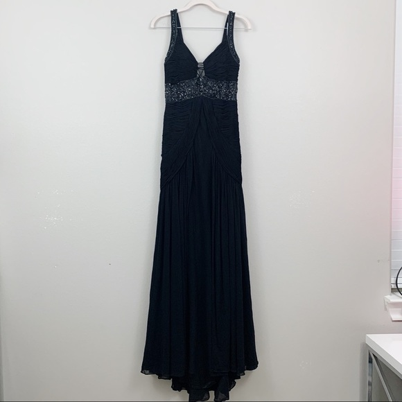 Sue Wong Dresses & Skirts - Sue Wong Black Beaded Sequined Strap Pleated Dress
